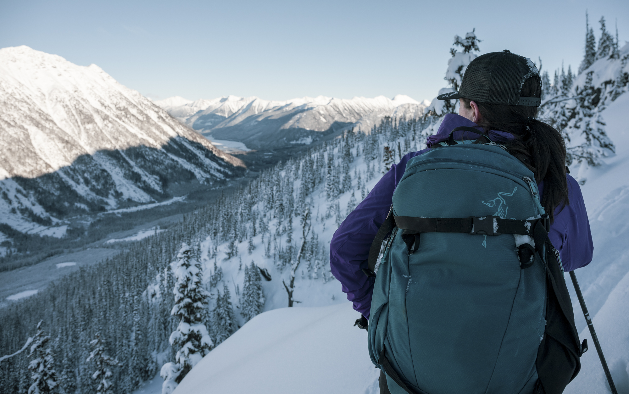 Jen Girardi scoping possibilities in the Duffy Lake zone, dreaming about Japan backcountry. Photo by Ben Girardi.