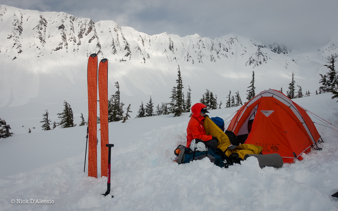 "Camping out and skiing with views of ""The Library"" in Turnagain Pass while guiding in Alaska."