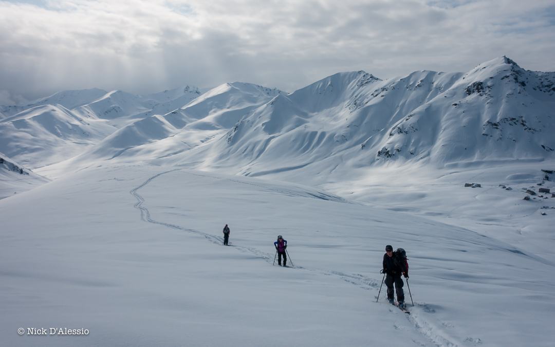 Up at the Hatcher Pass area for powder skiing on a beautiful day while guiding in Alaska.