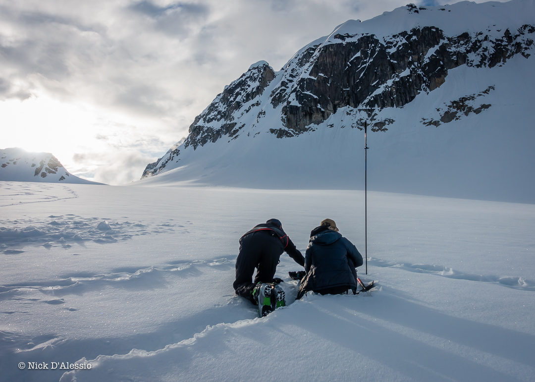 Checking in on the daily snow study plot.- Guiding in Alaska.