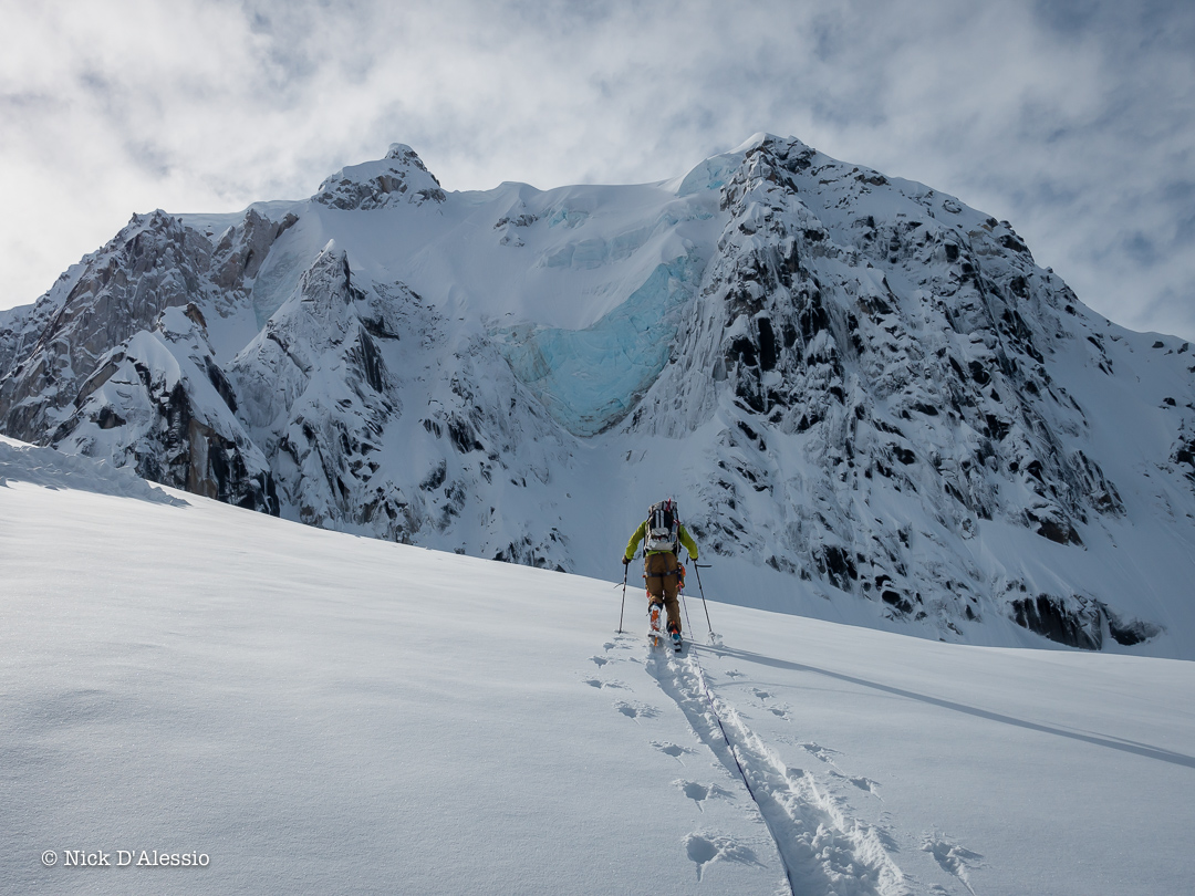 Powder runs await on the other side of the pass- guiding in Alaska.