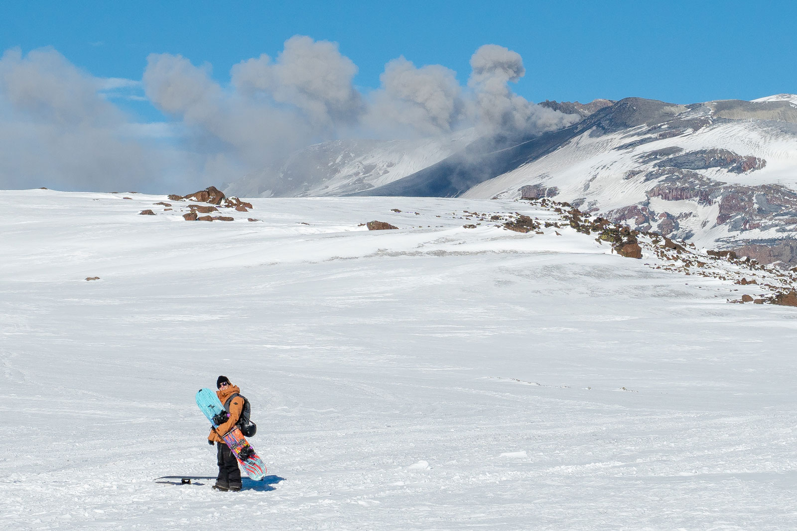 Reconsidering our decision to get closer to the volcano. Photo Courtesy: Ben Girardi - Adventure in Argentina