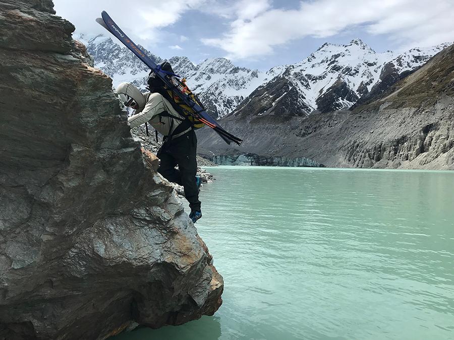 Ty navigates dangerous moraine on lower glacier. Beau F-ski-expedition