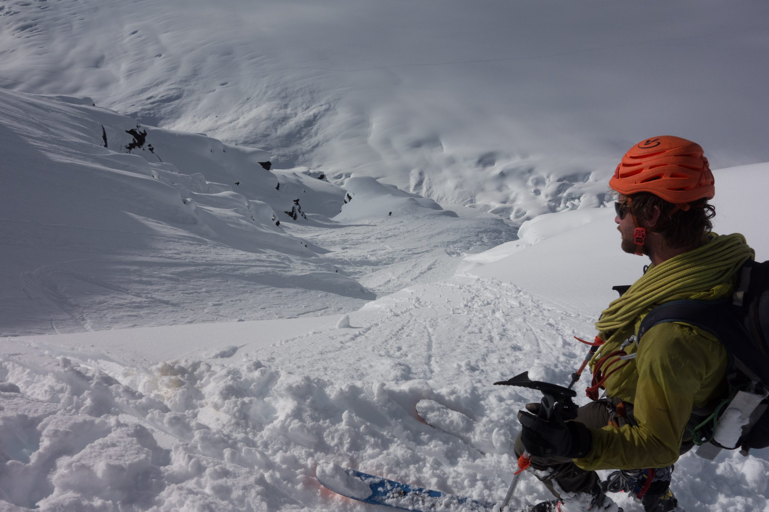 """Ty looking at the lower section of """"The Show"""" 2017-ski-expedition"""