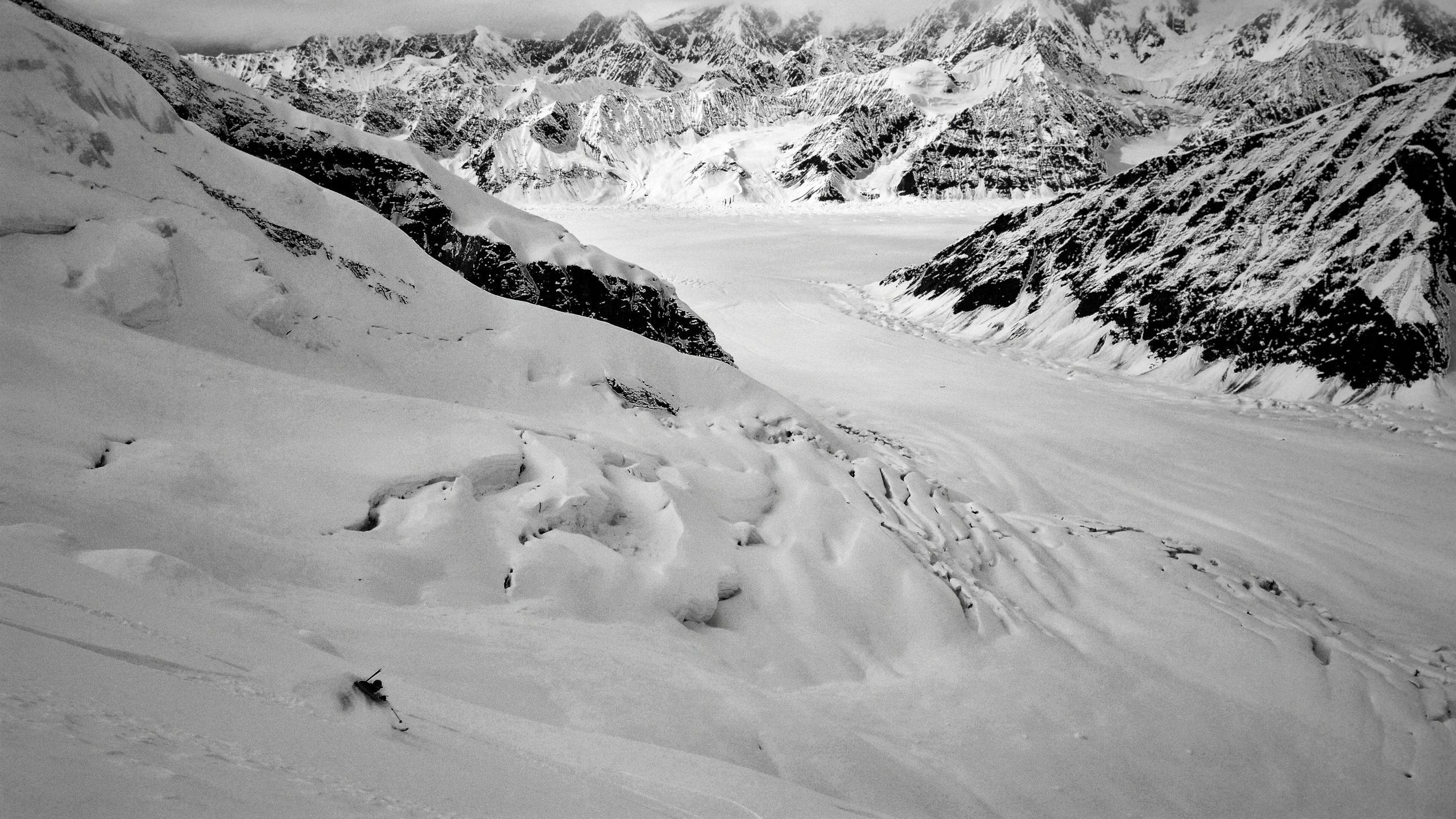 Ty skiing near large crevasses2016-ski-expedition