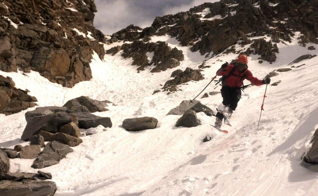 Telemark Ski Mountaineer Chamonix hop turn