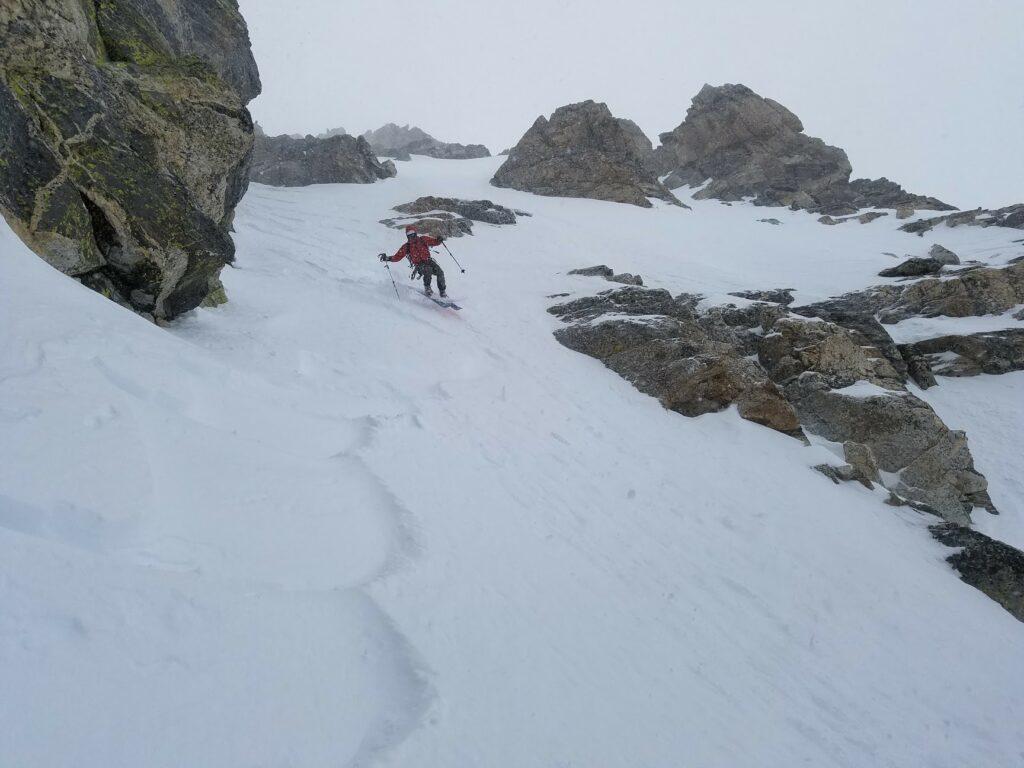 Telemark Ski Mountaineer first pitch ski