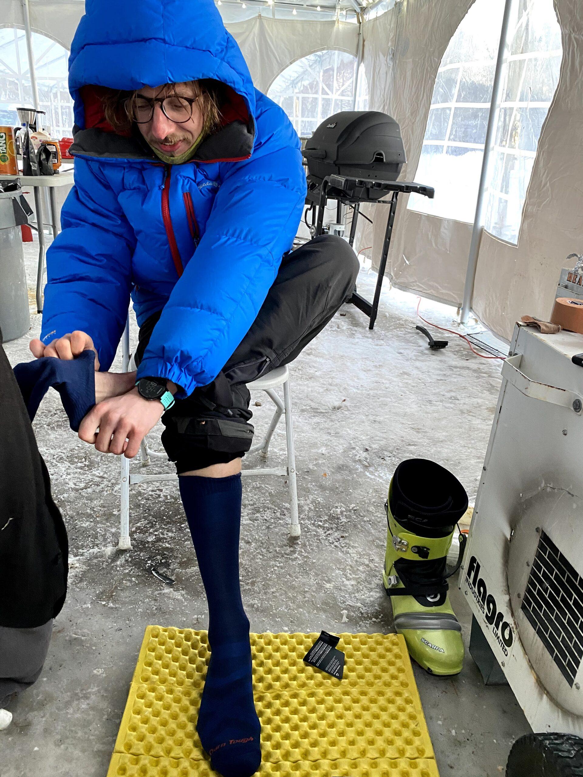 Last Skier Standing sock change