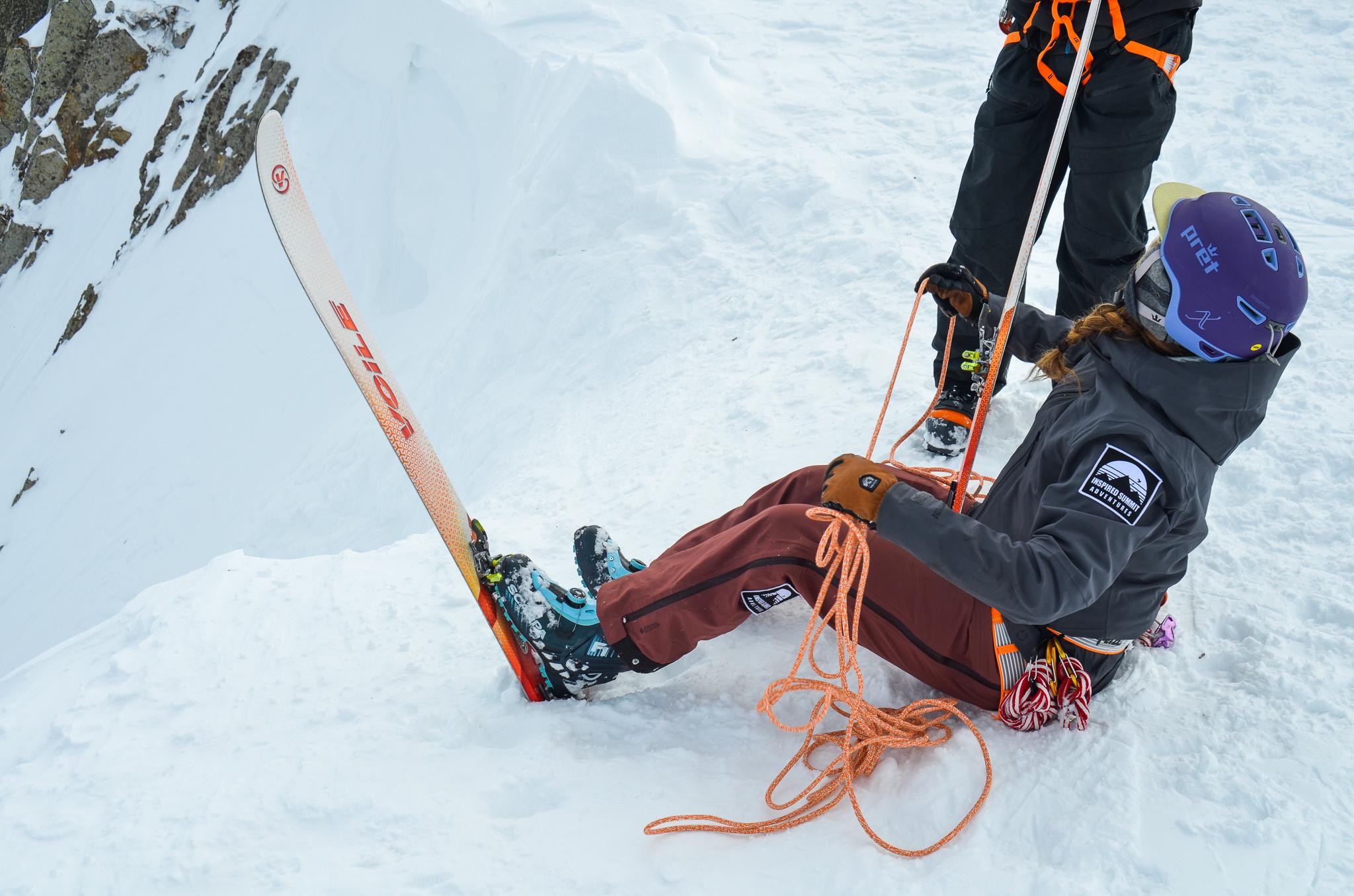 ski mountaineering seated belay
