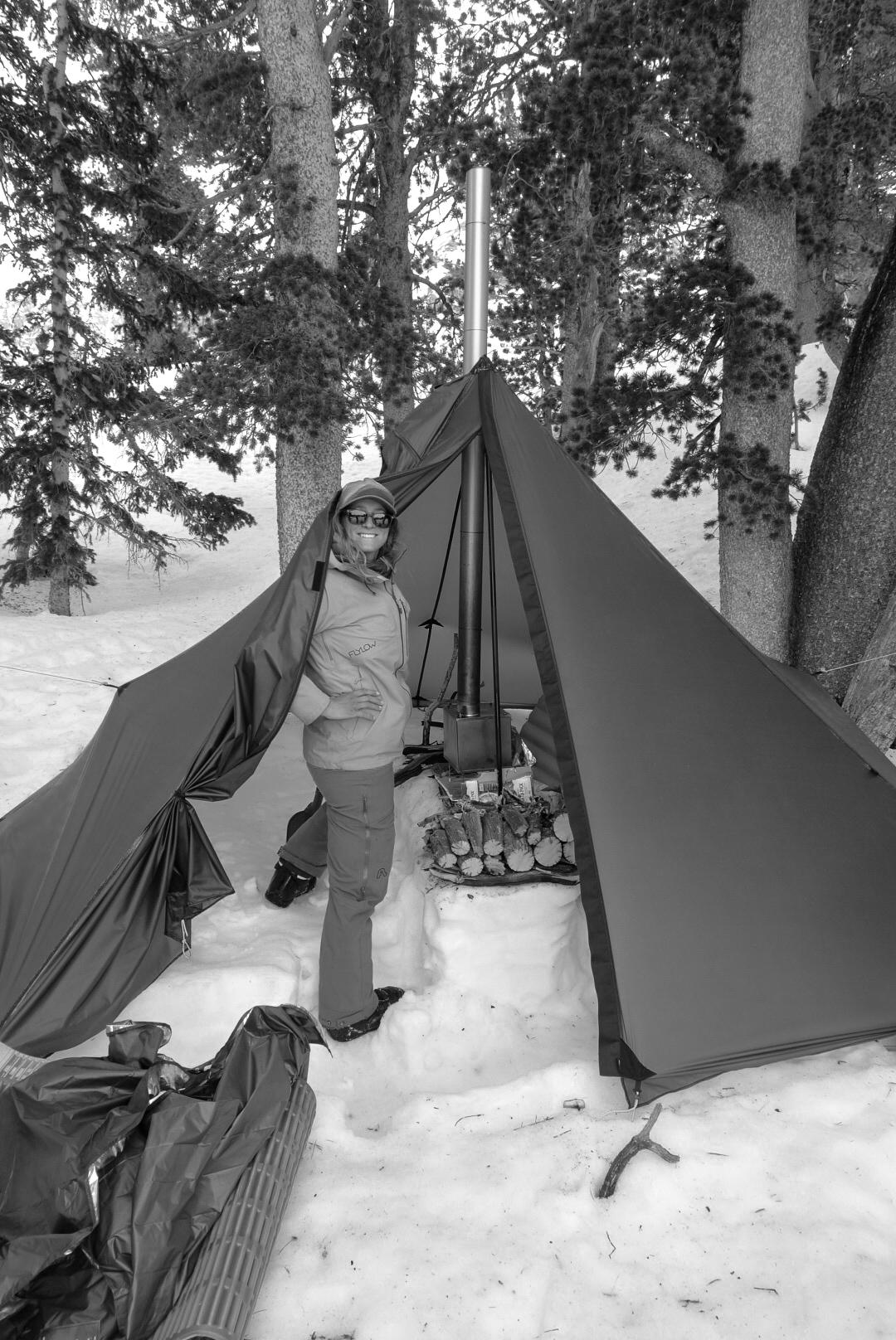 Exploring the Greater Yellowstone Area via Splitboard Cindi at tent