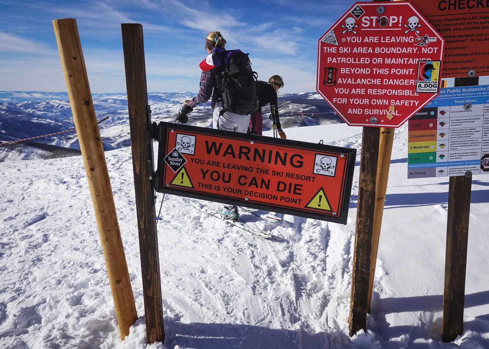 WARNING: You are leaving the ski are boundary. Not patrolled or maintained beyond this point. Avalanche danger! You are responsible for you own safety and survival.
