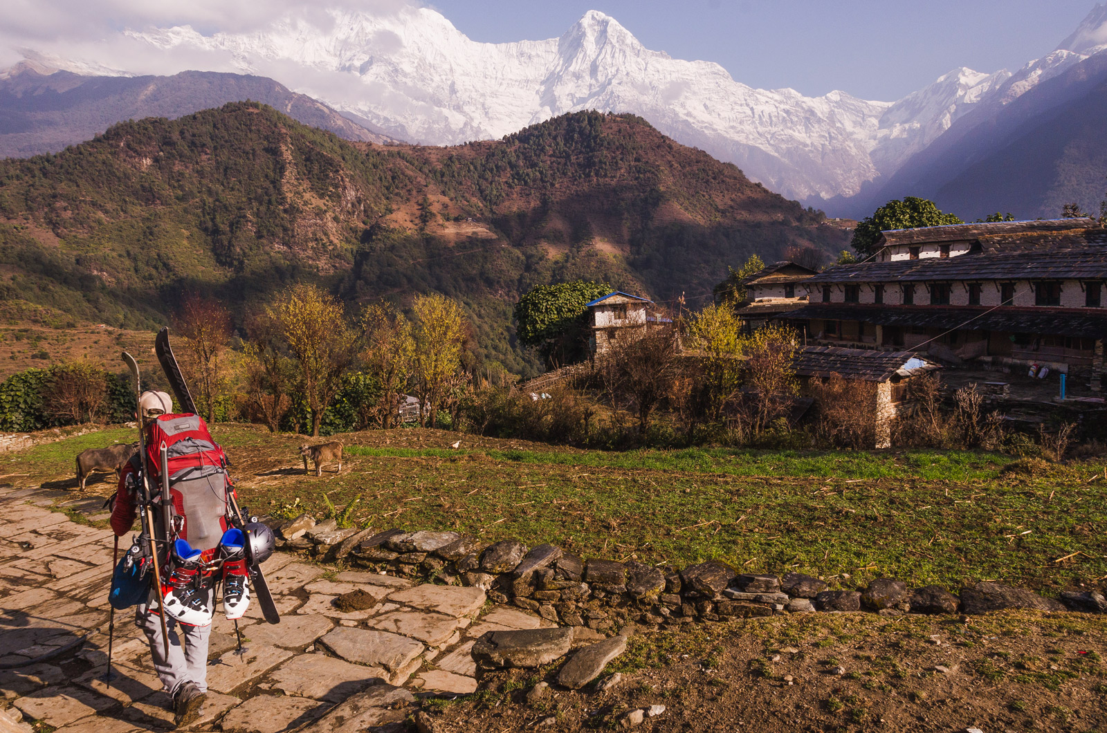 Trekking through a Himalayan village.
